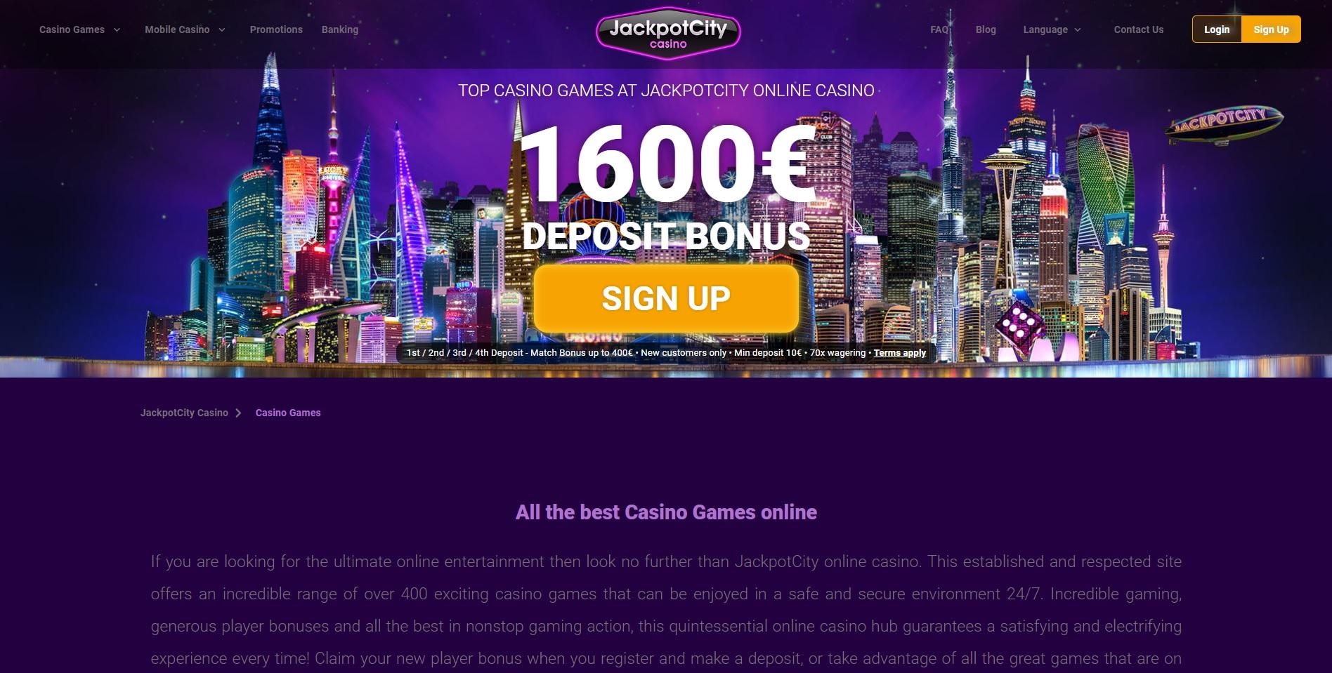 JackpotCasino Welcome Page