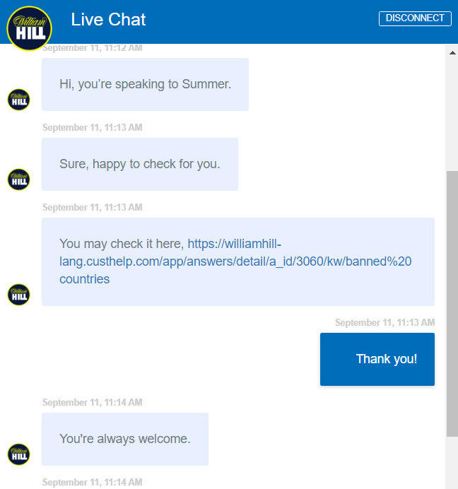 William Hill customer service