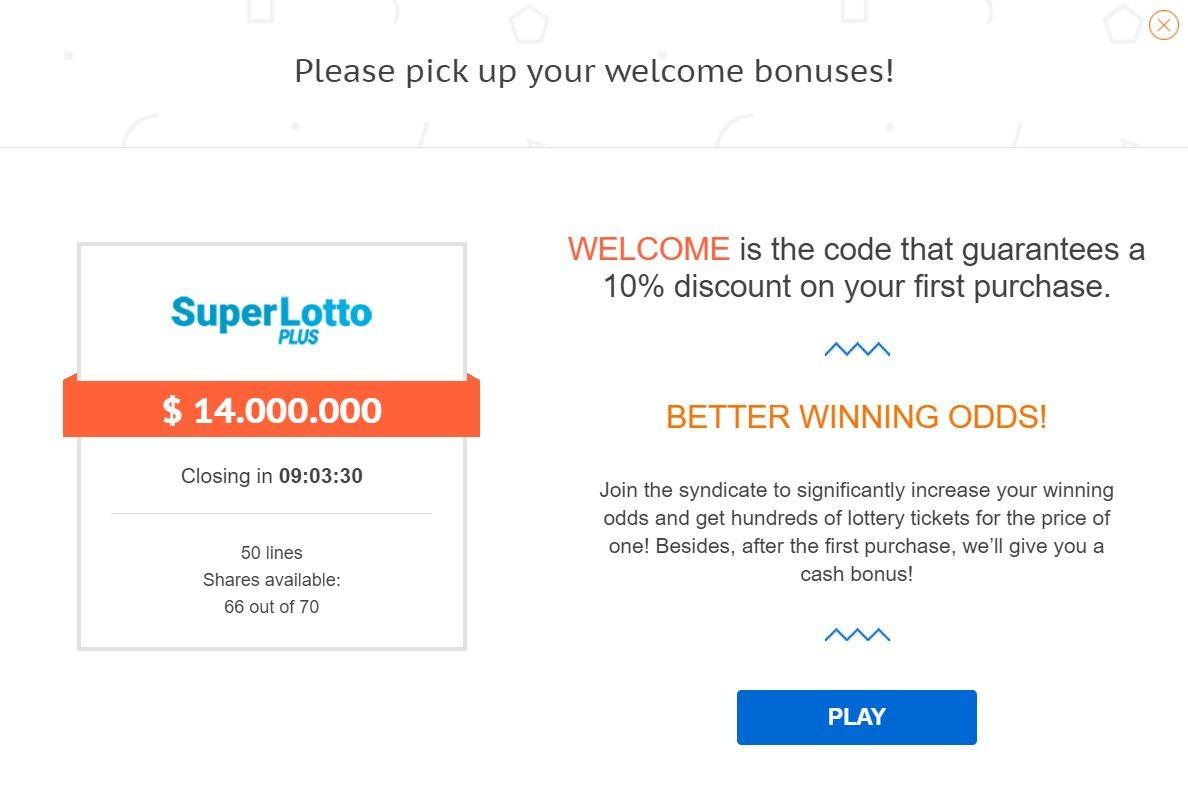 LottoAgent Welcome Bonus